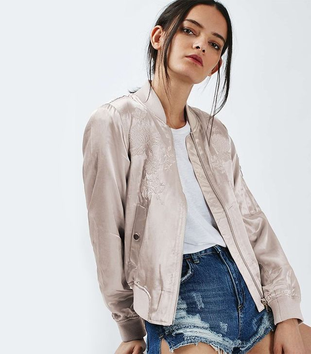Topshop Embroidered Bomber Jacket