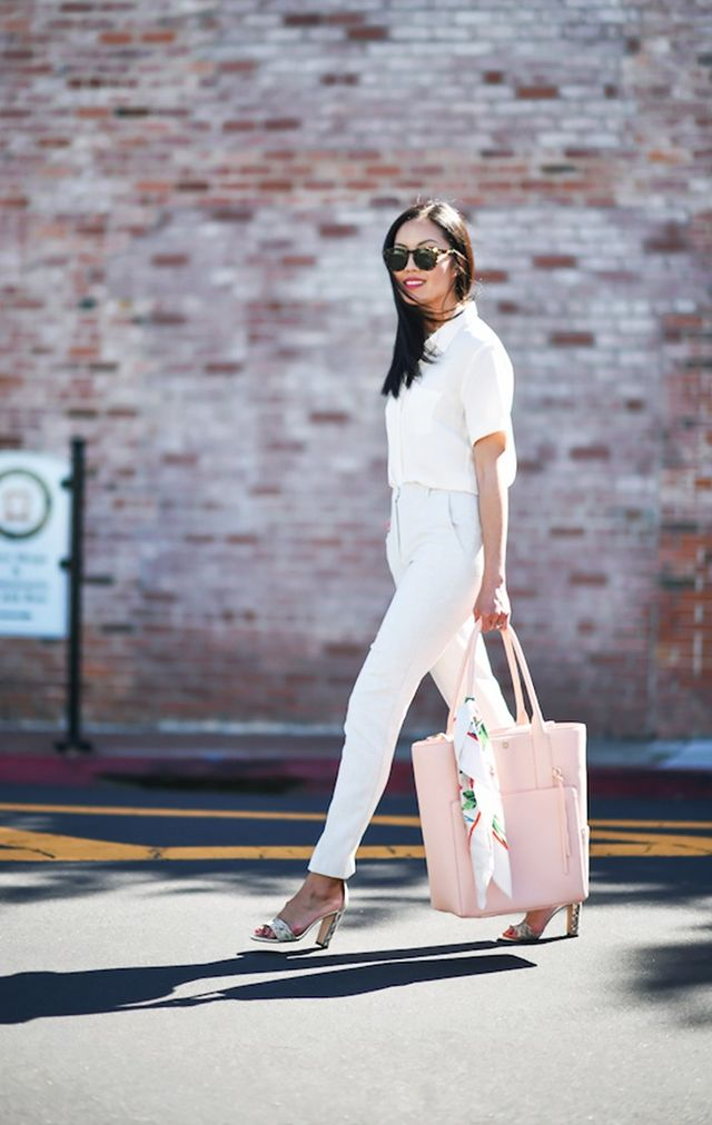 1. Silk Blouse + Trousers + Block-Heel Sandals