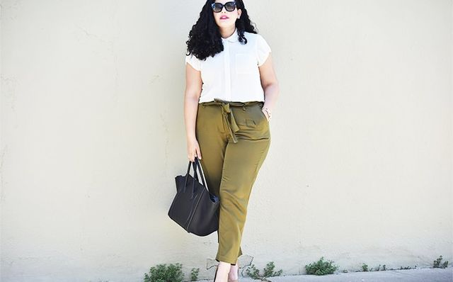 5. White Cotton Blouse + Army-Green Trousers + Nude Pumps