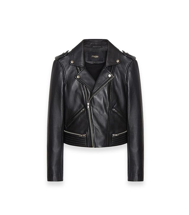 Maje Basalt Leather Jacket with Quilting