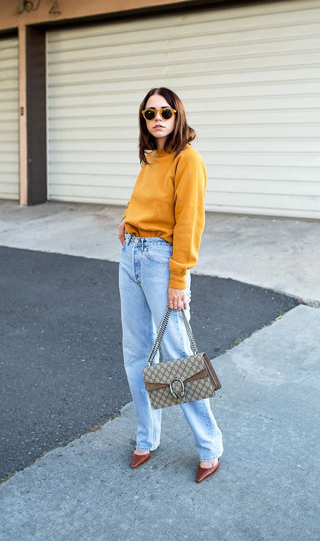 3. Colorful Sweater + Jeans + Slingback Pumps