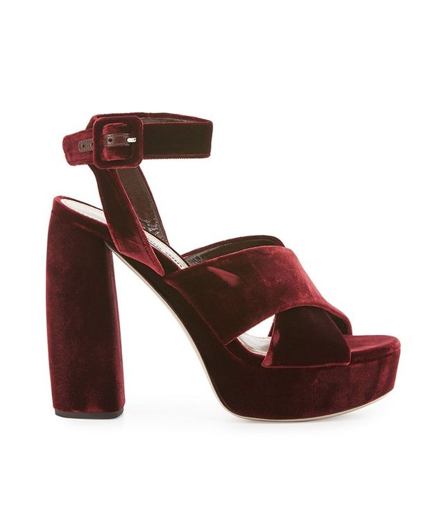 Miu Miu Velvet Criss Cross Sandal