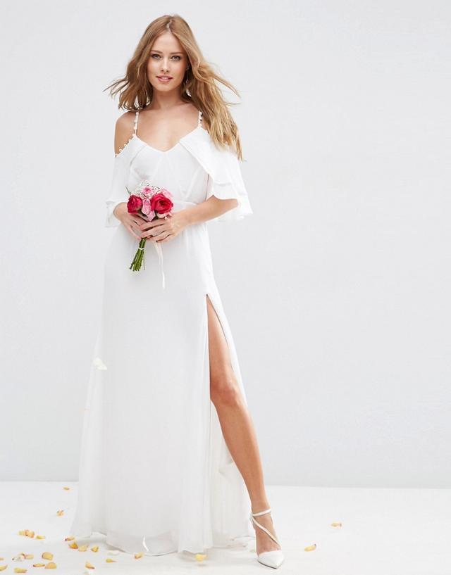 ASOS Bridal Cold Shoulder Maxi Dress