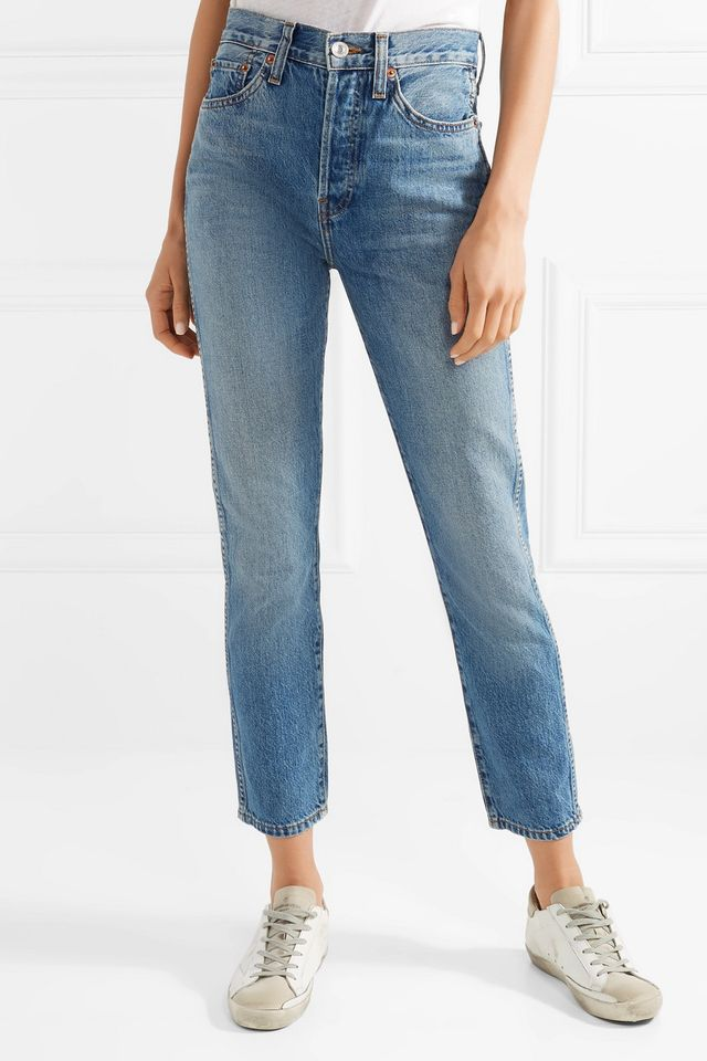 Re/Done Originals Double Needle Crop High-Rise Tapered Jeans