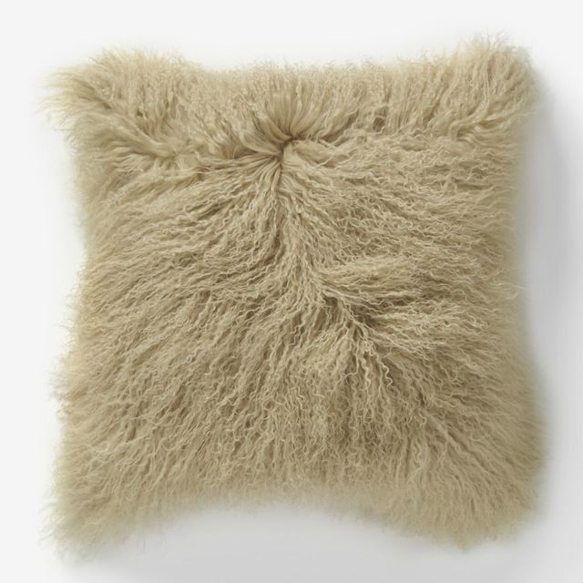 West Elm Mongolian Lamb Cushion Cover - Pebble