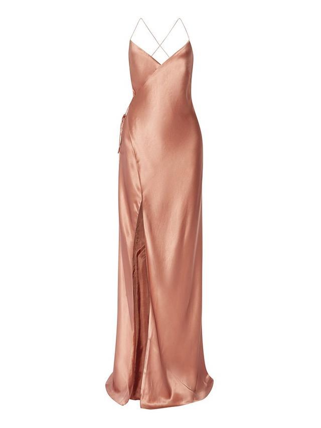 Michelle Mason Silk-Satin Wrap Gown