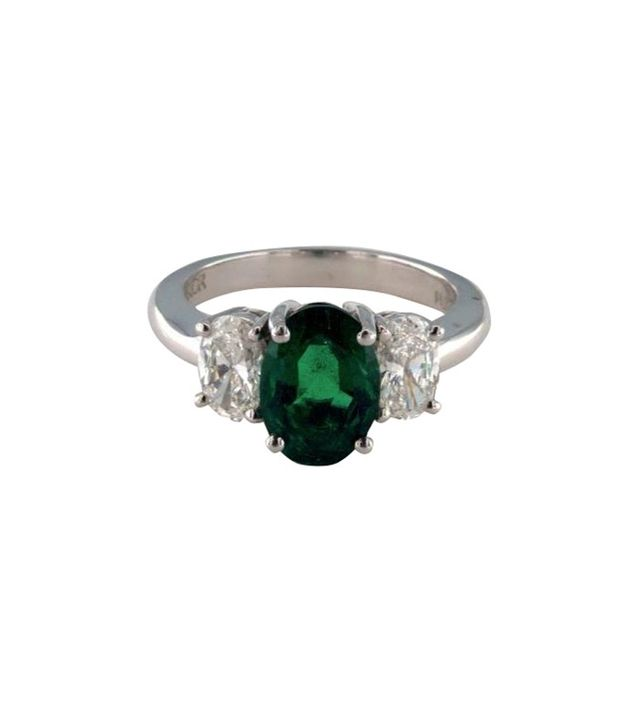 James Allen Platinum 2.15CT Oval Shape Green Emerald Three Stone Ring
