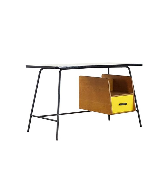 Pierre Paulin Small Yellow Formica Desk and Drawer