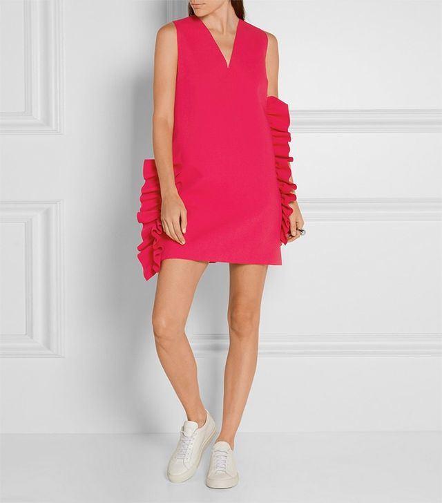 MSGM Ruffled Crepe Mini Dress