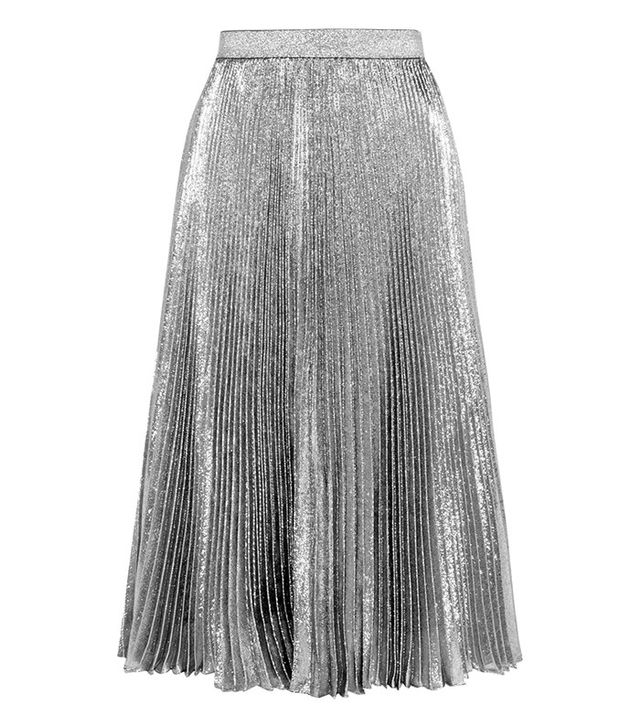 Christopher Kane Pleated Lamé Skirt