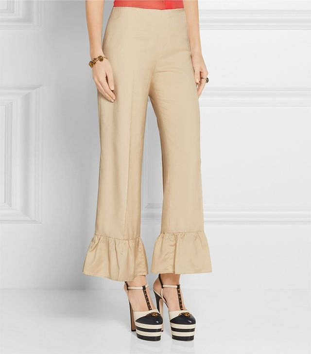 Gucci Ruffled Silk Flare Pants