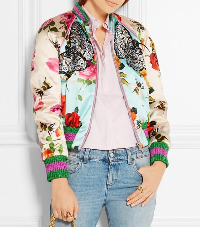 Gucci Appliquéd Printed Silk-Satin Bomber Jacket