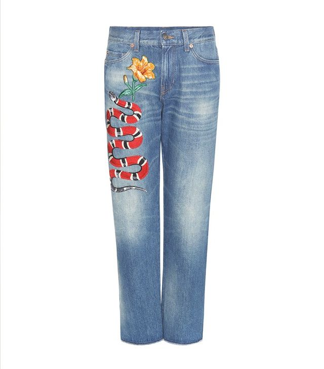 Gucci High-Rise Jeans With Embroidered Appliqué
