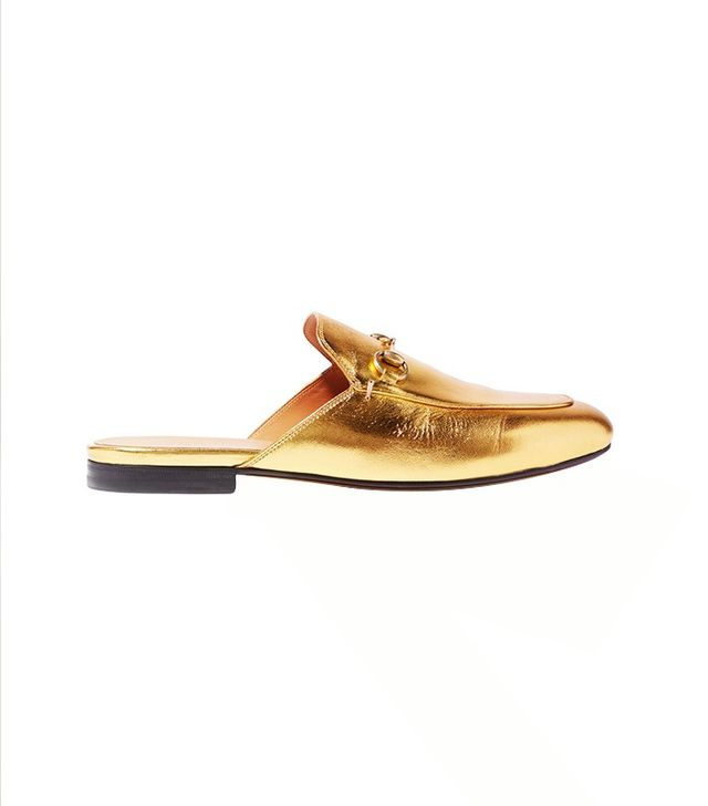 Gucci Princetown Horsebit-Detailed Metallic Leather Slippers