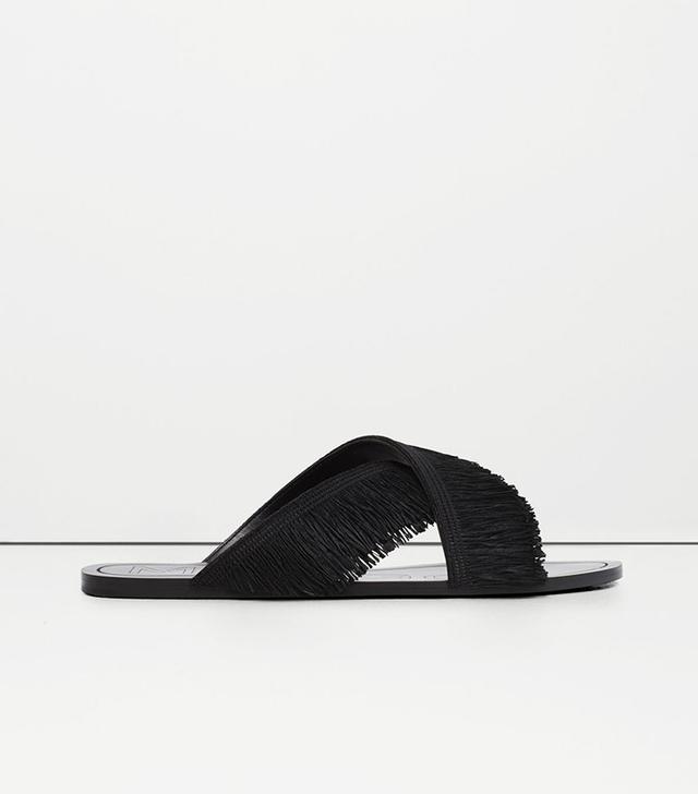 Mango Fringed Cross Strap Sandals