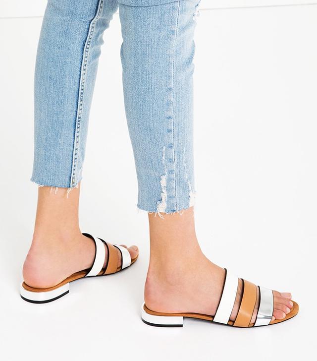 Zara Flat Shoes With Metal Heel Detail