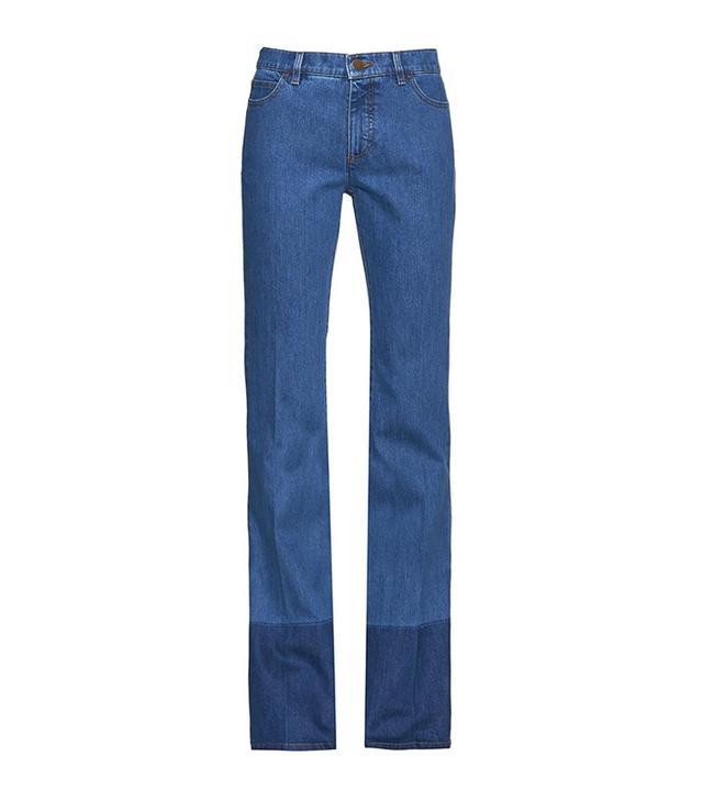 Valentino Contrast Hem High-Rise Straight Leg Jeans