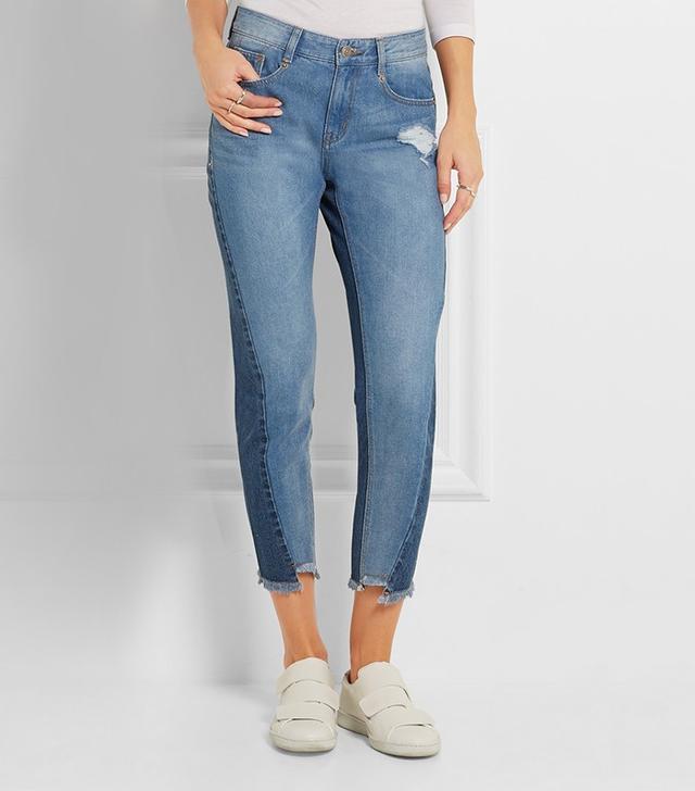 Steve J & Yoni P Distressed Mid-Rise Straight Leg Jeans