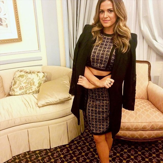 On JoJo Fletcher: WOW Couture Bead Embellished 2-Piece Lace Dress ($225); Alexis coat.