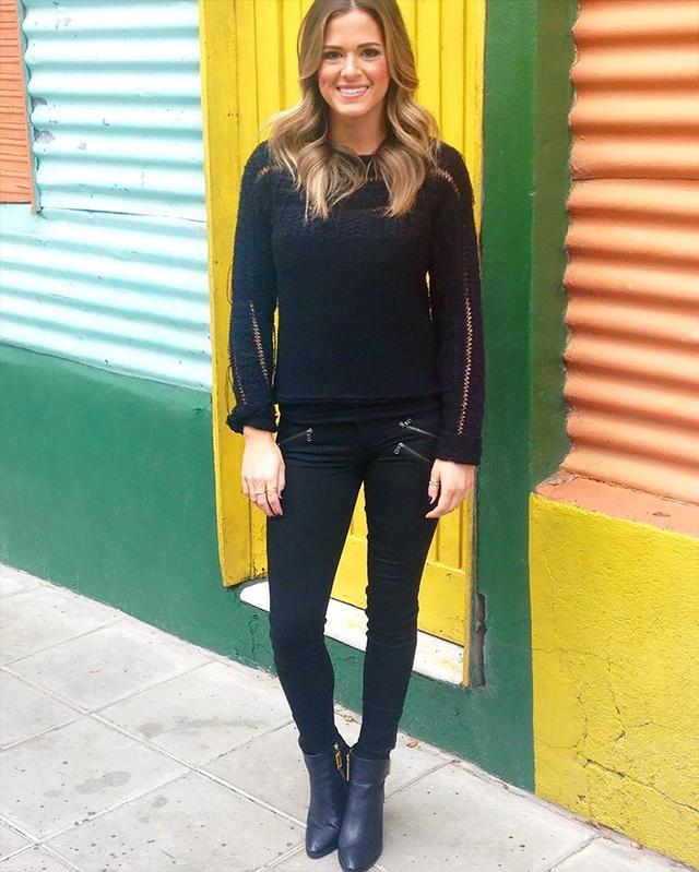 On JoJo Fletcher: Ramy Brook Jessica Sweater ($188); Zara Mid-Rise Power Stretch Trousers ($20); Kat Maconie Bessie Booties ($110).