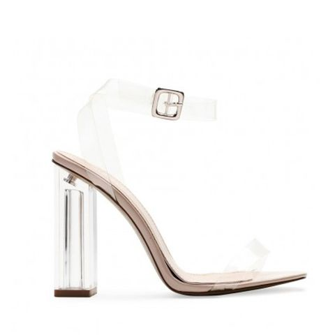 Alia Strappy Perspex High Heels in Clear Nudes