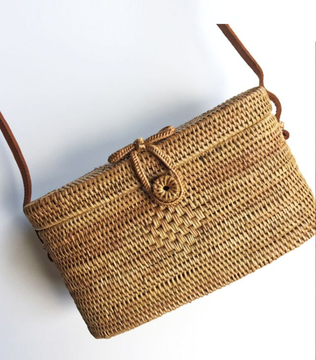 Wood Grey Bucket Woven Bag