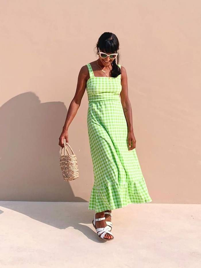 Who What Wear UK Instagram photos: green shrimps dress and white sandals