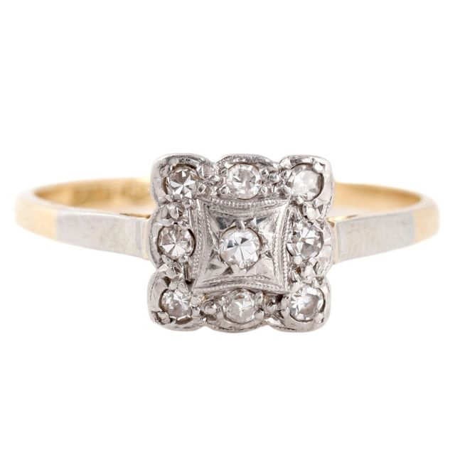 Vintage Art Deco 9 Engagement Ring