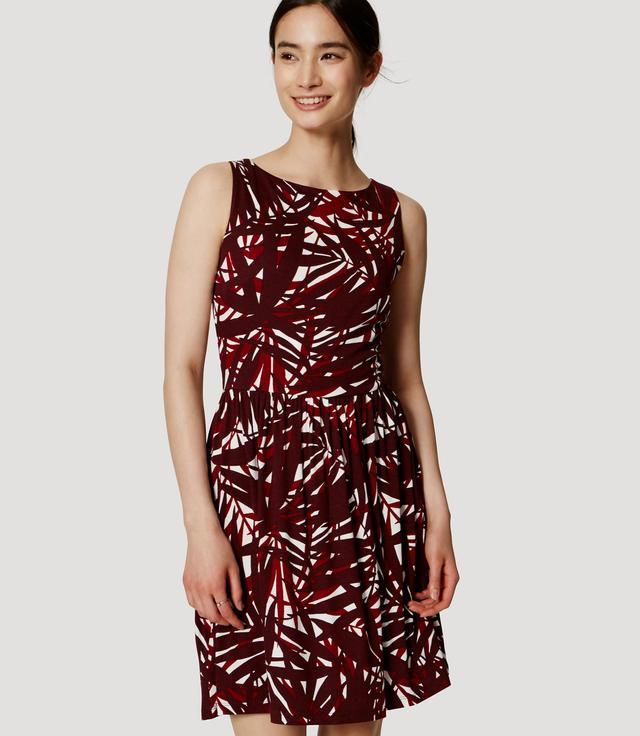 Loft Sunset Palm Cutout Flare Dress