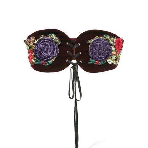Embroidered Velvet Belt