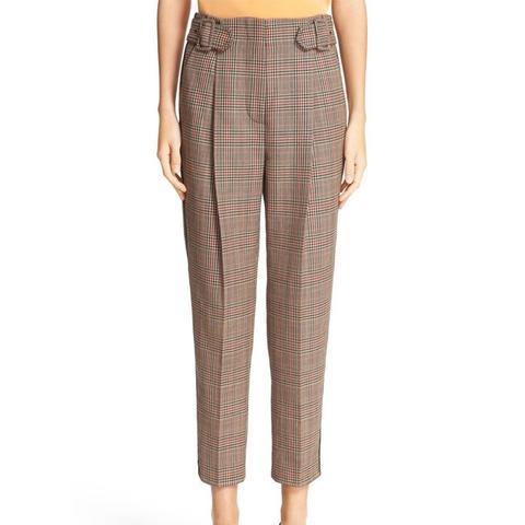 Pleated Glen Plaid Crop Wool Pants