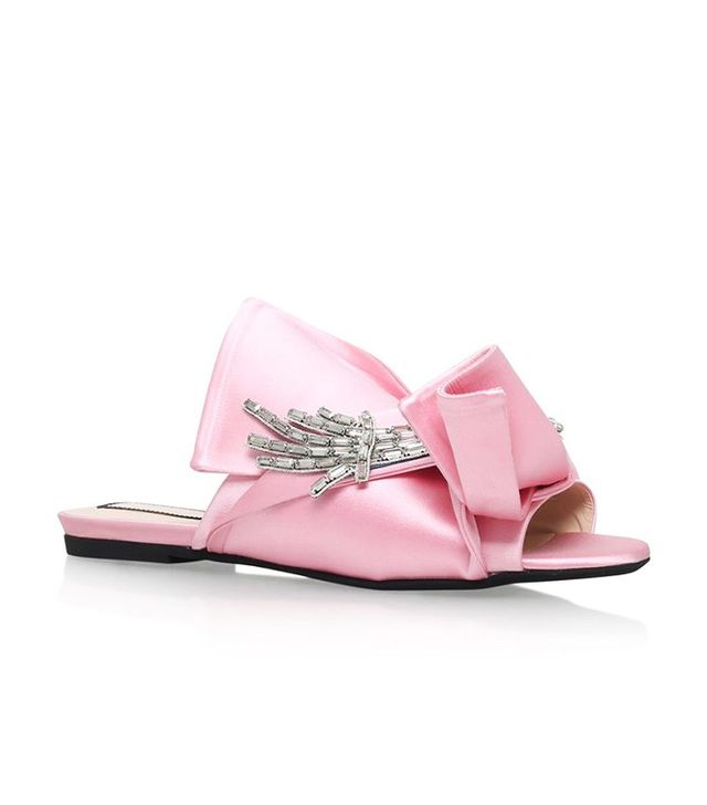 No. 21 Satin Bow Flower Slippers