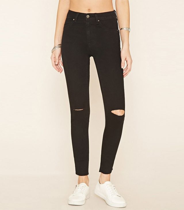 Forever 21 Ripped Knee Skinny Jeans