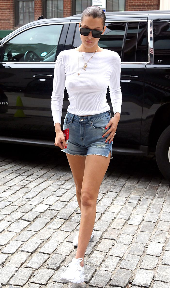 bella hadid denim shorts
