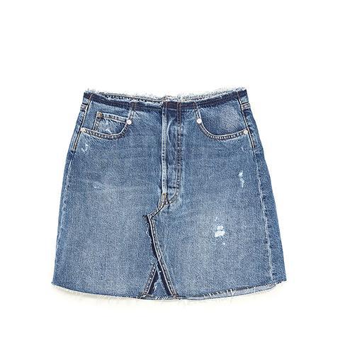 The Waistless Skirt in Mic Blue