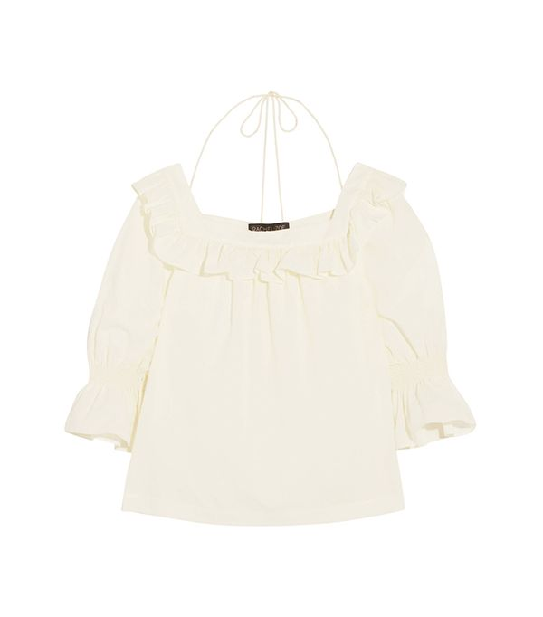 Henson Ruffled Swiss-dot Cotton Blouse
