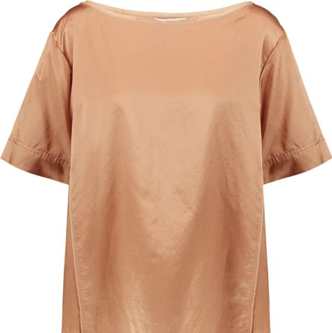 Chiffon-Trimmed Cotton and Silk-Blend Satin Top