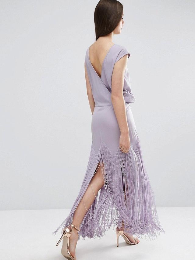 ASOS Fringe Maxi Dress With Deep V Back