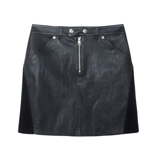Calvin Klein Jeans Leather and Suede Miniskirt