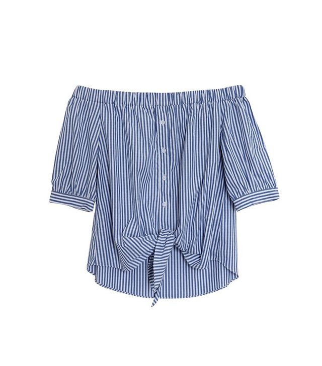 Modern Citizen Pia Tied Off-Shoulder Striped Blouse