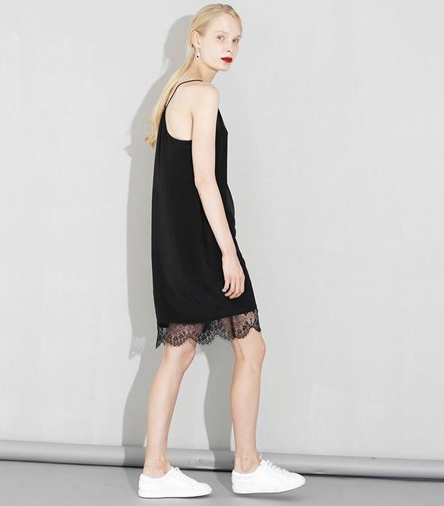 Genuine People Black Lace Slip Dress