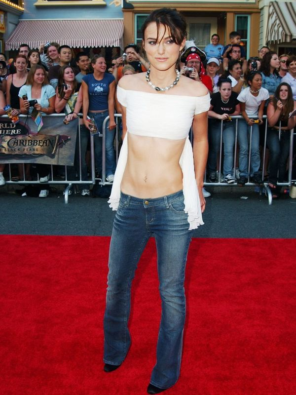 2000s fashion: Keira Knightley wears low-rise jeans on the red carpet