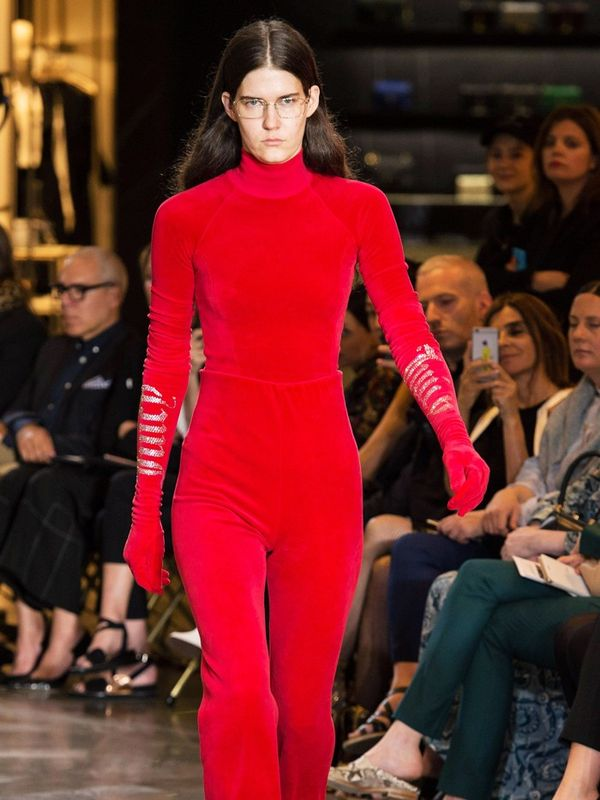 2000s fashion: Red Juicy Couture velour tracksuit on runway at Vetements