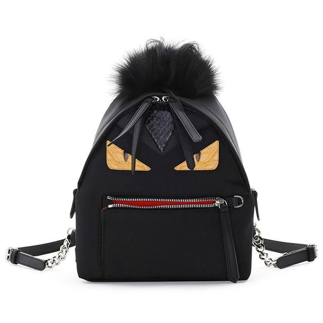 Fendi Mini Monster Mohawk Backpack in Black
