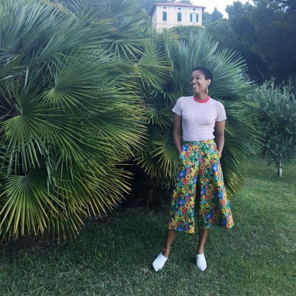 Style Notes: Floral culottes + striped snug tee = something we're definitely doing this weekend. Now, all we're looking for is the palm-leaf background.