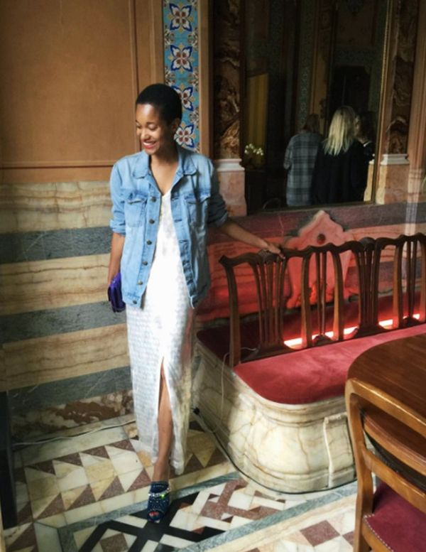Style Notes: What better way to offset a fancy, sparkly frock than with an oversize denim jacket?