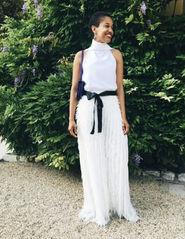 Style Notes: A classic idea flipped on its head; Tamu's black-tie approach is all about looking for elegant pieces that each have talking points—like this eyelash-fringed skirt.
