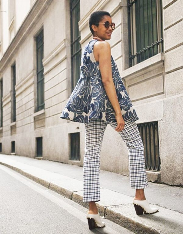Style Notes: Tamu's a maestro at the print clash, and this is particularly good: tropical fronds mixed with checks. The similar colour palette makes this an easy one to replicate.