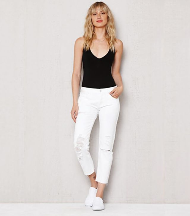 PacSun Ice White Ripped Girlfriend Jeans