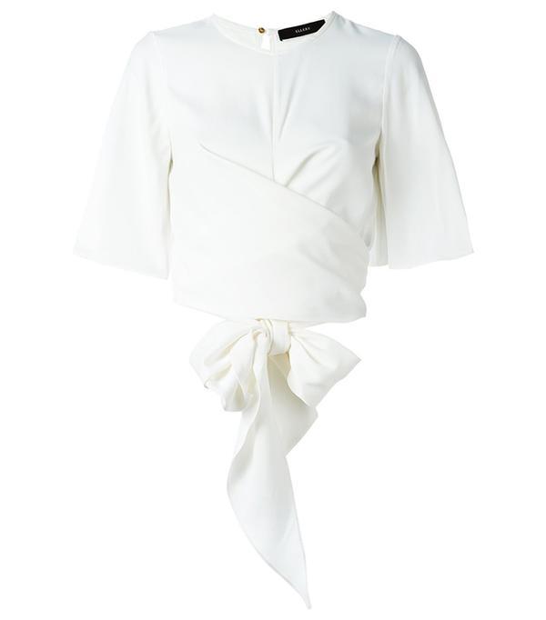 flutter sleeve wrap blouse, Women's, Size: 6, White, Viscose